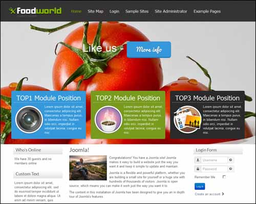 FoodWorld Free Joomla Restaurant Templates